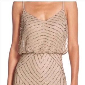 adrianna papell art deco beaded blouson gown-size4
